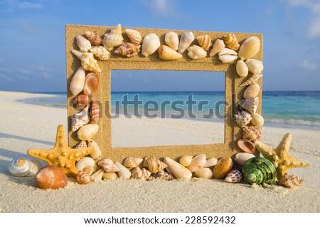 Sea shell sand frame by the beach.