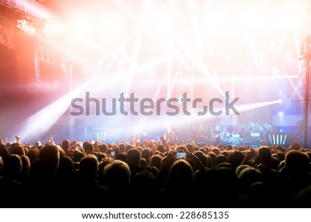 Silhouettes of crowd at a rock concert #228685135