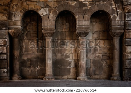 Old wall with columns, may be used as background.