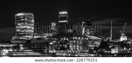 Beautiful black and white image of London City at night with lovely tones and grades