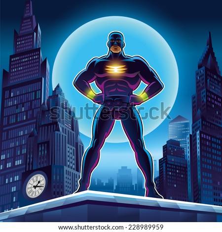 Superhero. Vector illustration on a background
