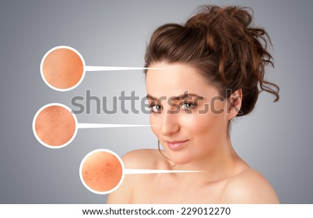 Beautiful young girl with facial care arrow signs of damaged skin on gradient background #229012270