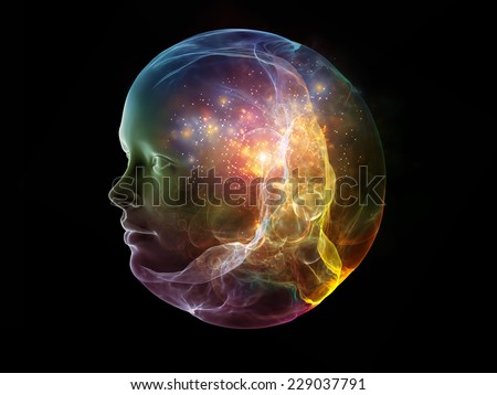 Next Generation AI series. Backdrop composed of fusion of human head and fractal shape and suitable for use in the projects on mind, consciousness and spirituality #229037791