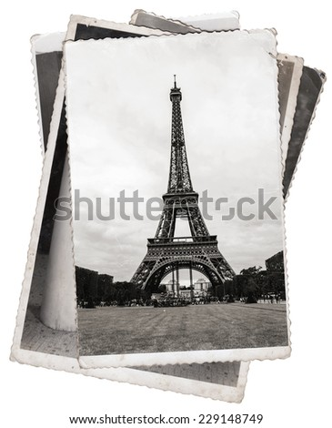 Black and white photos, Vintage photos Eiffel Tower, famous symbol of Paris