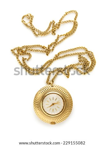 Pocket golden watch with chain on white #229155082
