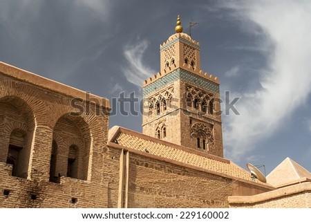MARRAKECH, MOROCCO - CIRCA SEPTEMBER 2014: Koutoubia Mosque circa September 2014 in Marrakech. #229160002