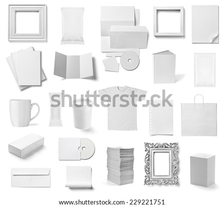 collection of  various white business print templates on white background. each one is shot separately #229221751