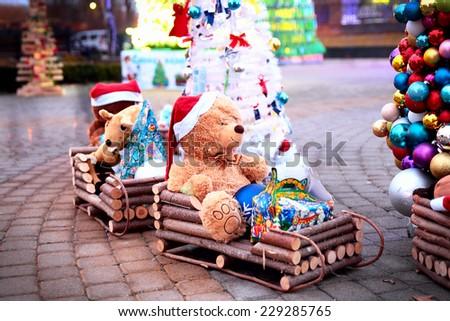 Vintage Christmas decoration with soft toys, Krasnodar, Russia