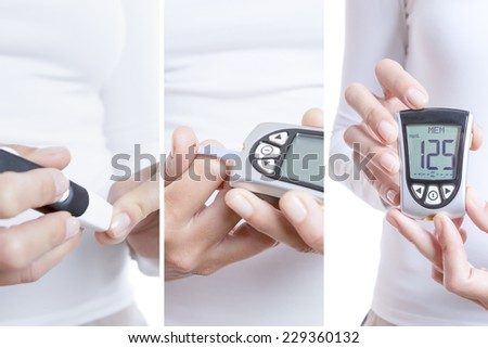 glycemia collage consisting of three pictures: a prick, blood drop in a reactive strip and a glucometer with a correct value isolated on a white background