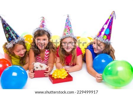 Happy kid girls puppy dog gift in birthday party balloons on white background #229499917