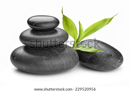 zen basalt stones and bamboo isolated on white #229520956