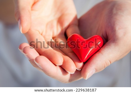 Hands of man and woman holding red heart protecting it together #229638187