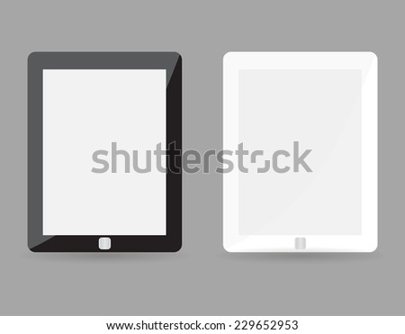 Two realistic tablet pc concept - black and white with blank screen. Highly detailed responsive realistic small tablet mockup isolated on gray background. Vector illustration EPS10 #229652953