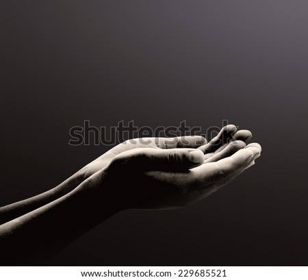 Ramadan kareem concept: Black and white prayer hands open two empty hands with palms up to pray God #229685521