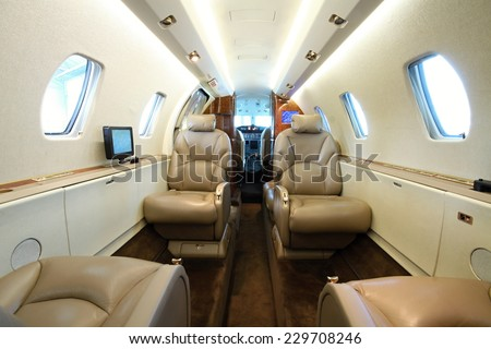 Inside the rear part of the business aircraft cabin #229708246