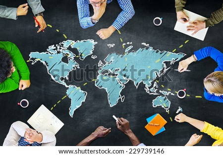 Group of People Blackboard Global Communications Concept #229739146