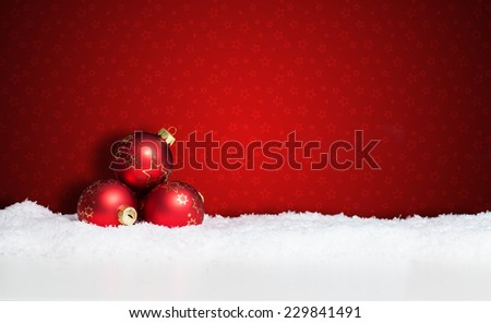 many christmas balls in the snow #229841491
