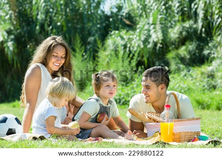 Happy smiling young family of four having picnic at meadow in park  #229880122