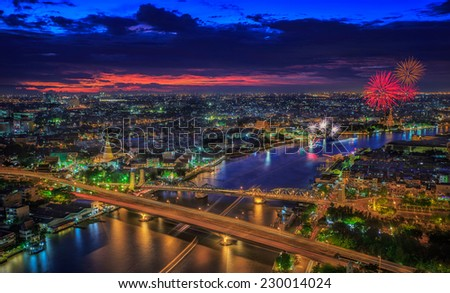 Bangkok highlight view, this point can see many popular place such as River, wat, temple, pagoda and vintage bridge with firework in loykratong fastival #230014024