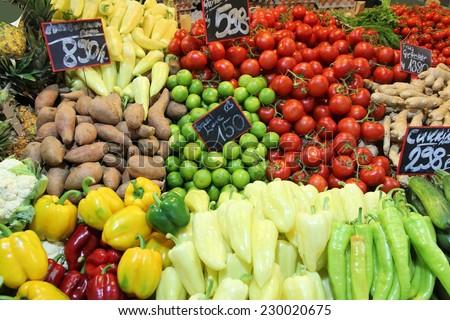 Food market in Budapest, Hungary (Great Market Hall). Fresh produce marketplace. #230020675