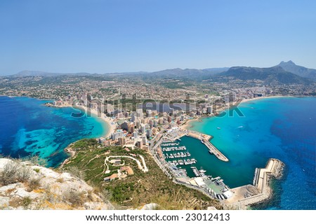 up view of mediterranean coast city #23012413