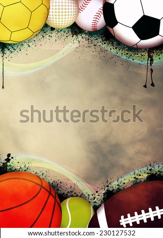 Sport advert poster or flyer background with empty space #230127532