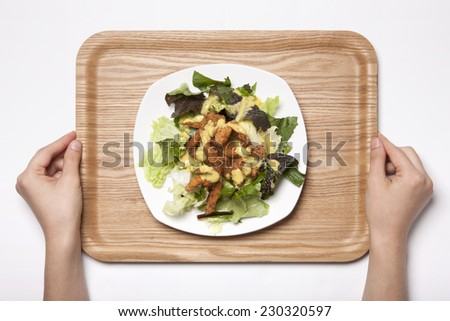 A female(woman, girl) hold a wood tray with white dish(plate) and the vegetable salad and chicken(cajun chicken salad) isolated white, top view at the studio. #230320597