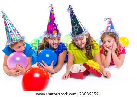 Happy kid girls puppy dog gift in birthday party balloons on white background #230353591
