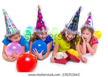 Happy kid girls puppy dog gift in birthday party balloons on white background #230353663