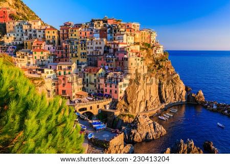 Manarola village at sunset. Cinque Terre National Park, Liguria Italy. #230413204