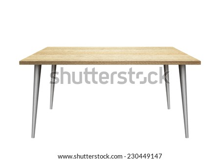 3D table on white background. Wooden top, metal legs. #230449147