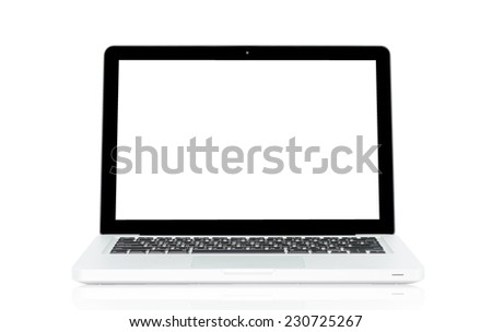 White Laptop with blank screen isolated on over white background #230725267