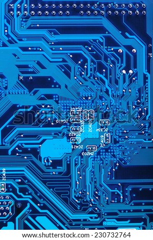 Close Up of electronic circuit board without processor #230732764
