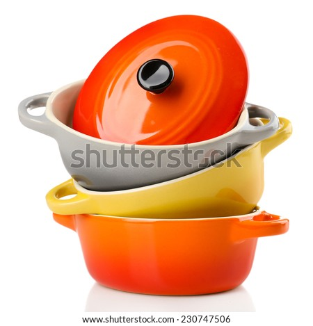 Ceramic pot. soup tureen isolated on white #230747506