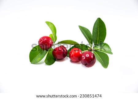 three Thai Cherry Fresh on a white background. #230851474