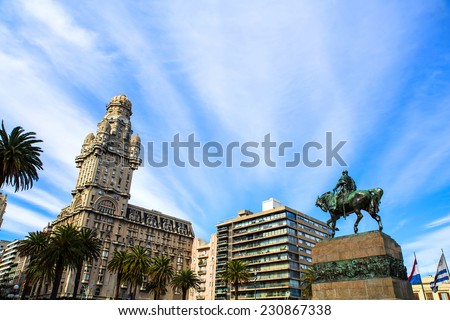 View over the Plaza Independencia in Montevideo , Uruguay. #230867338