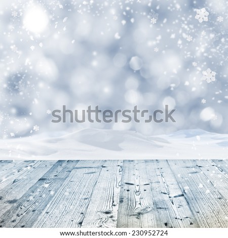 Winter background with wooden table #230952724