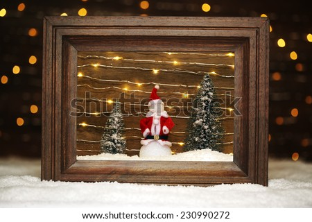 Peaceful winter scene with snowman