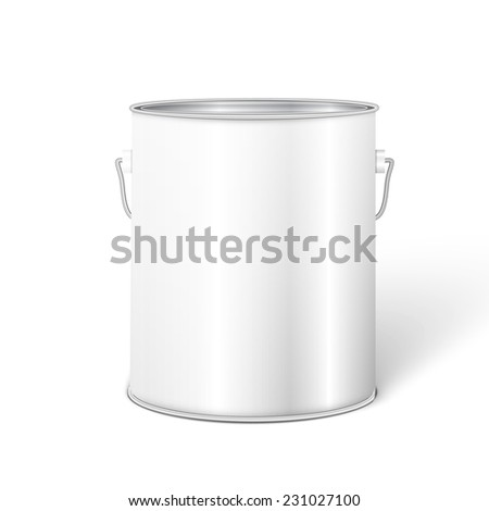 White Tall Tub Paint Bucket Container With Metal Handle. #231027100