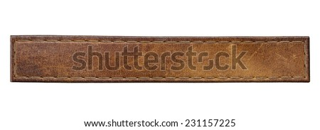 Blank leather jeans label, isolated long tag. Royalty-Free Stock Photo #231157225