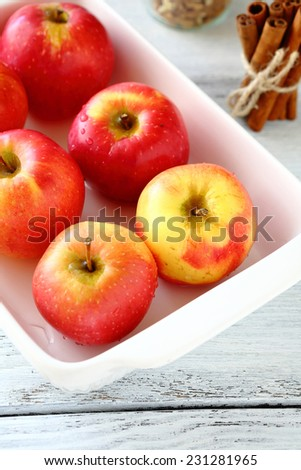 Red apples in a white bowl, cooking food #231281965