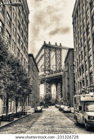 View of Manhattan Bridge on a overcast spring day - New York City. #231326728