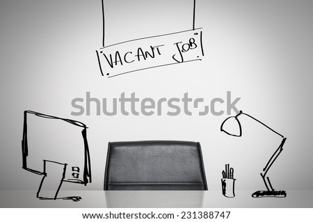 Vacant job business concept: a leather chair and an empty desk at office Royalty-Free Stock Photo #231388747