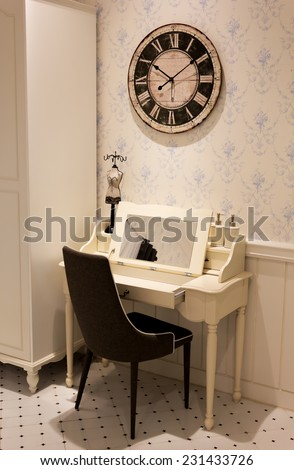 dressing table, vanity corner for small space in room vintage design interior
