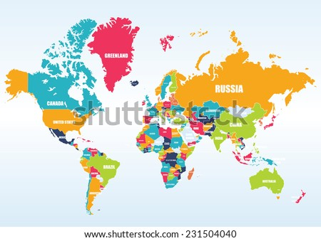 World map-countries Royalty-Free Stock Photo #231504040
