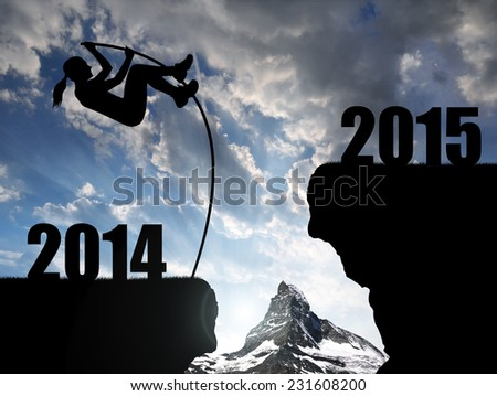 Girl jumps to the New Year 2015 #231608200