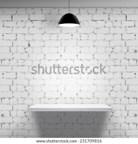 white brick wall with shelf and lamp #231709816