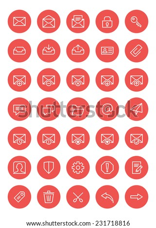 Thin line mail icons set for web and mobile apps. White and pink colors flat design. Message, envelope, archive, spam #231718816