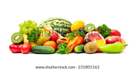 Collection fruit and vegetables on white #231801562