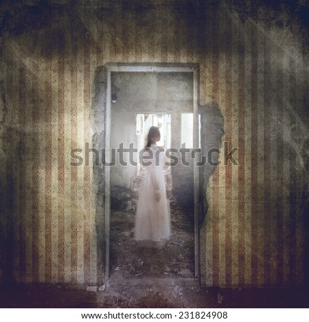Ghost girl with twisted head in door frame in abandoned grunge building  #231824908